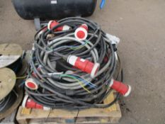 LARGE PALLET OF 3 PHASE CABLES AND TRAILING SOCKETS 63AMP AND 125 AMP RATED