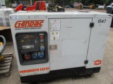 SMC POWERMASTER GQ22P 22KVA SILENCED GENERATOR, 4310 REC HRS, PERKINS ENGINE. WHEN TESTED WAS SEEN T