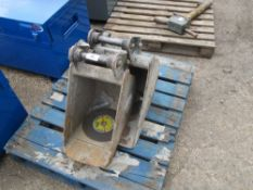 "2 X MINI DIGGER BUCKETS ON 35MM PINS 1FT AND 18"" SIZE APPROX"