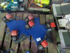 2 X GT HEAVY DUTY MACHINE SKATES, 2 TONNE RATED WITH INTEGRAL TURNTABLE