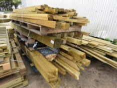 3 X PALLETS OF POSTS, TIMBERS AND ROLL OF CHAINLINK FENCING