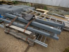 5 X WALL TOP RAILINGS 1.8M X 0.44M APPROX PLUS 2 GATE POSTS AND HEAVY DUTY PEDESTRIAN GATE