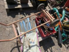 PALLET CONTAINING DRAIN RODS, TROLLEY JACK, SACK BARROW ETC