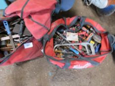 2 X RED BAGS OF ASSORTED TOOLS ETC