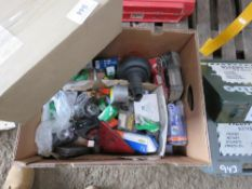 BOX OF ASSORTED VEHICLE PARTS. DIRECT FROM LOCAL COMPANY DUE TO DEPOT CLOSURE.