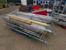 DOUBLE WIDTH ALUMINIUM SCAFFOLD TOWER, 8.5M WORKING HEIGHT. SEE IMAGES FOR LOT CONTENTS. DIRECT FROM
