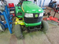 JOHN DEERE X748 4WD RIDE ON MOWER. WHEN TESTED WAS SEEN TO RUN, DRIVE, STEER AND MOWERS TURNED.