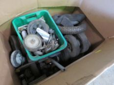 BOX OF ASSORTED WHEELS AND CASTORS. DIRECT EX LOCAL COMPANY DUE TO DEPOT CLOSURE