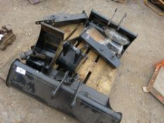 4 X ASSORTED EXCAVATOR BUCKETS PLUS BRACKETS ETC.