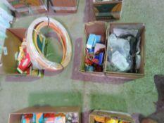 BOX OF SPARK PLUGS, HOSES, REGULATORS, CAPACITORS ETC