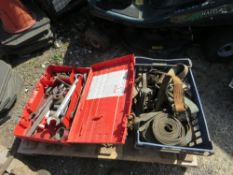 PALLET CONTAINING CHAINS, STRAPS AND SPANNERS.