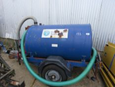TOWED WATER BOWSER WITH PETROL ENGINED PUMP ON BALL HITCH COUPLING.