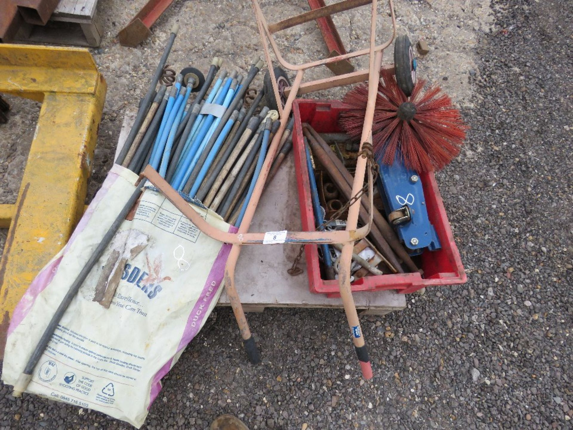 Lot 8 - PALLET CONTAINING DRAIN RODS, TROLLEY JACK, SACK BARROW ETC