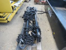 PALLET OF 4 LEG CHAIN SYSTEM, 11.2 TONNE RATED, 22FT LENGTH 13MM CHAINS, SPREADER BARS AND SELF LOCK