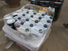 PALLET OF ASSORTED PAINTS, DIES ETC.