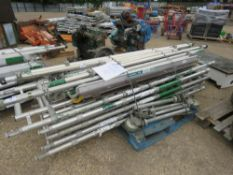NARROW WIDTH ALUMINIUM SCAFFOLD TOWER, 8M WORKING HEIGHT. SEE IMAGES FOR LOT CONTENTS. DIRECT FROM L