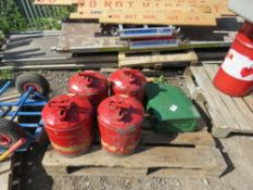 4 X SPECIAL FUEL CANISTERS PLUS A GERRY CAN. DIRECT FROM LOCAL COMPANY DUE TO DEPOT CLOSURE.