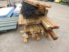 3 X PALLETS OF WOODEN POSTS, FENCE WIRE, TRELLIS ETC.