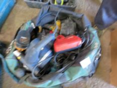 BAG OF ASSORTED POWER TOOLS.