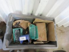 1 X BOX OF ASSORTED FASTENINGS, TOOLS, BUCKETS ETC