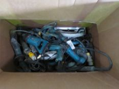 BOX OF ASSORTED POWER TOOLS, CONDITION UNKNOWN.