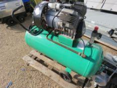 GREEN 240 VOLT COMPRESSOR, WHEN TESTED WAS SEEN TO RUN AND MAKE AIR.