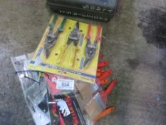SELECTION OF PAINT BRUSHES AND TIN SNIPS.