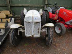 GREY FERGUSON PETROL TRACTOR WITH REAR LINKAGE. WHEN TESTED WAS SEEN TO START DRIVE, STEER AND PTO T