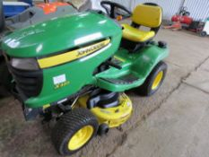 JOHN DEERE X320 RIDE ON MOWER WITH 42 INCH CUTTING DECK. YEAR 2009. 191 RECORDED HOURS. WHEN TESTED