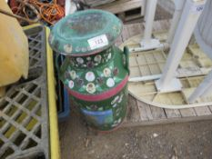 DECORATIVELY PAINTED MILK CHURN WITH LID.