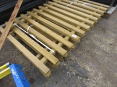 5 X WOODEN FENCE SECTIONS. 1 - 1.2 METRE HEIGHT APPROX X 1.82 METRE WIDE.