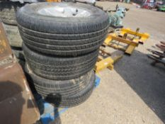 8 X SHOGUN WHEELS AND TYRES, SOME HAVE VERY GOOD TYRES, PLUS GRILLE