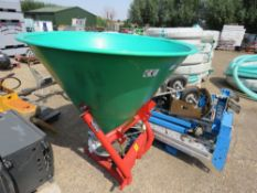 AGROMEX 500 LITRE TRACTOR MOUNTED FERTILISER SPREADER WITH PTO. 500 LITRE SIZE. UNUSED.