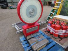LARGE SET OF SCALES. BALANCE WEIGHT HAS COME UNHOOKED IN TRANSIT, WORKING WHEN LOADED.. SOURCED FROM