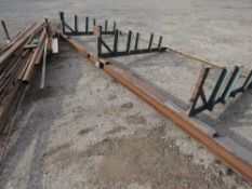 STEEL STORAGE RACK PLUS A LARGE QUANTITY OF USEFUL FABRICATION STEEL AS SHOWN.