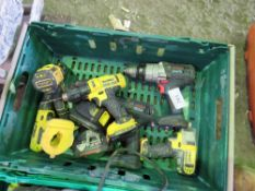 BOX OF DEWALT AND BOSCH BATTERY DRILLS.