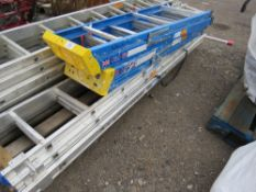 9 RUNG TRIPLE LADDER WITH STABILISER BASE PLUS 2 X GRP STEP LADDERS.