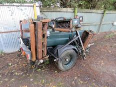 SET OF HAYTER TRACTOR TOWED/TRAILED PTO DRIVEN 7 GANG CYLINDER MOWERS.