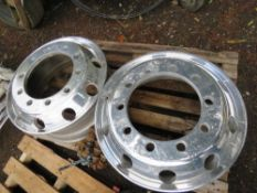 2X ALLOY RIMS FOR VOLVO/DAF WITH 20X NUTS.