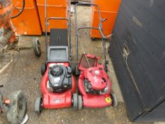 MTD RED PETROL ENGINED LAWN MOWER PLUS ANOTHER.