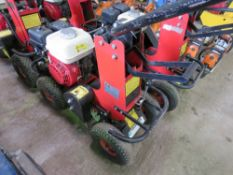 TRACMASTER PETROL ENGINED TURF CUTTER. WHEN TESTED WAS SEEN TO RUN, DRIVE AND BLADE MOVED. DIRECT FR