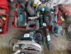 MIXED BOSCH AND MAKITA POWER TOOLS, CONDITION UNKNOWN.