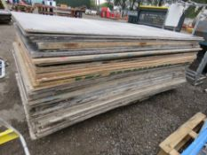 PALLET OF PRE USED PLYWOOD TYPE SHEETS, 50 NO APPROXIMATELY IN TOTAL.