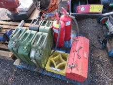 PALLET CONTAINING 5 X GERRY CANS, TOOLS ETC.