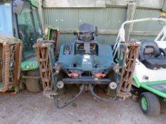 HAYTER LT322 TRIPLE RIDE ON GANG MOWER. WHEN TESTED WAS SEEN TO RUN, DRIVE AND MOWERS TURNED.