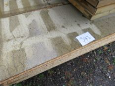 APPROXIMATELY 28 X GREEN CHIPBOARD FLOOR BOARDS.