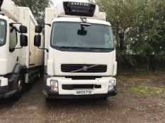 VOLVO 18 TONNE FRIDGE LORRY REG:KR59 FSE. MANUAL GEARBOX. 292,602 REC KMS. TESTED TILL 31.12.20 WITH