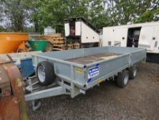 IFOR WILLIAMS LM146G PLANT TRAILER WITH DROP SIDES AND LOADING SKIDS. HITCH KEY IN OFFICE. FROM VISU