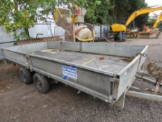 IFOR WILLIAMS TWIN AXLED 14FT PLANT TRAILER WITH DROP SIDES and a set of loading ramps.