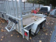 ME 2.5M X 1.25 INTERNAL MEASURED PLANT TRAILER WITH DROP RAMP. SN:SDSB2E027JH006185. 2.7TONNE RATED